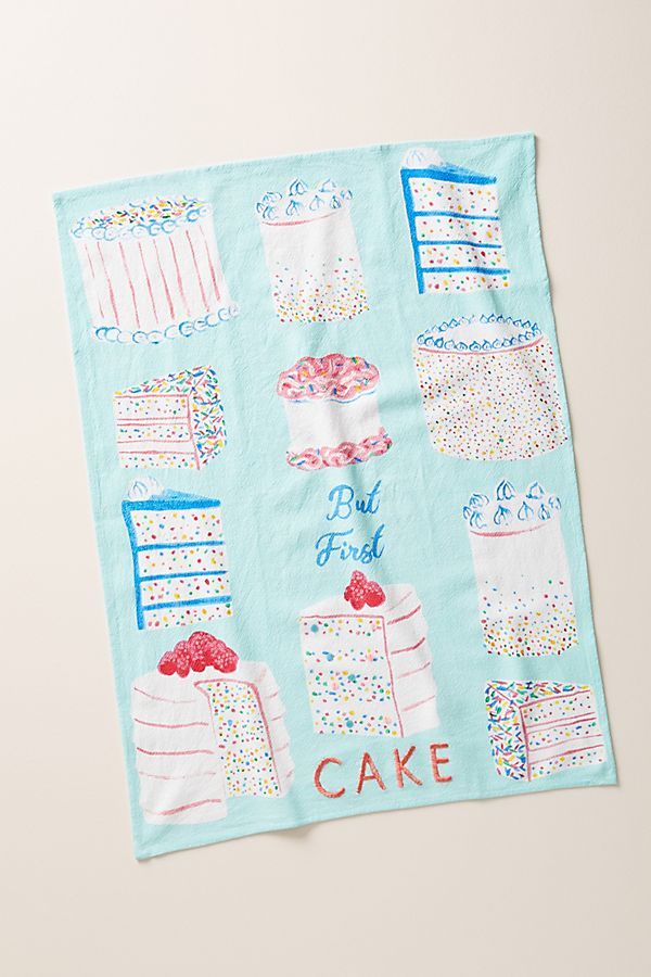 Anthropologie But First Cake Dish Towel