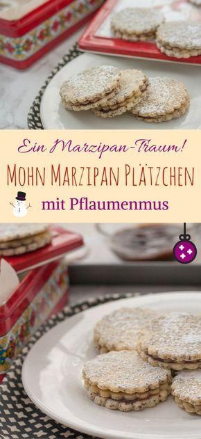 Mohn Marzipan Plätzchen mit Pflaumenmus {Powidl} - ein Weihnachtsplätzchen für Marzipanliebhaber | Poppy Seed & Marzipan Sandwich Cookies with Plum Jam #germanchristmas #plätzchen #christmas #cinnamonandcoriander #weihnachtsbäckerei #marzipan #mohn #pflaumenzeit #pflaumenmus #christmascookierecipes #poppyseed