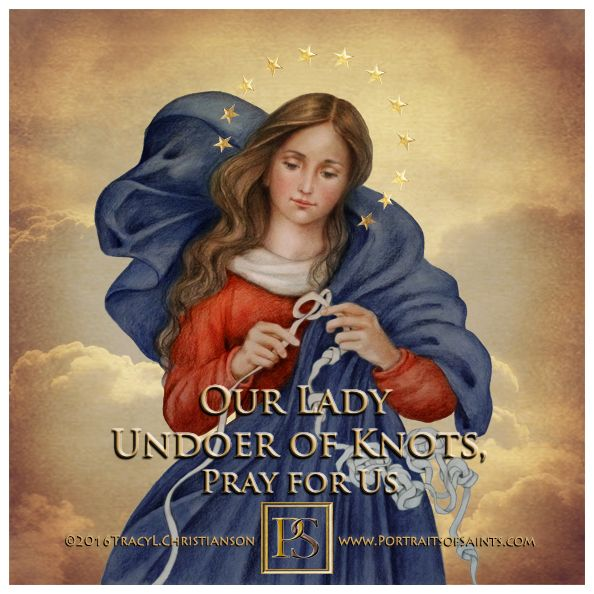 Our Lady Undoer of Knots; Eve tied the knot of discord & Mary, by obedience, untied it. She'll help you untie your discord.