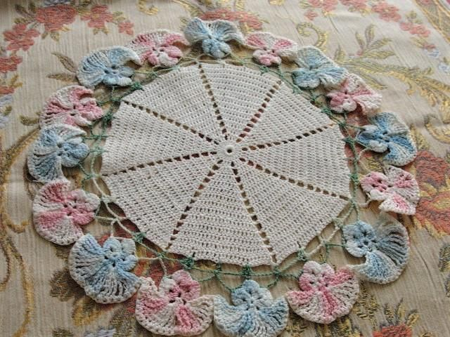 Vintage 1940s PRETTY Pink Blue Figural Flowers Hand Crocheted Lace Doily Centerpiece Table Topper Decorative Shabby Chic Romantic Cottage Decor