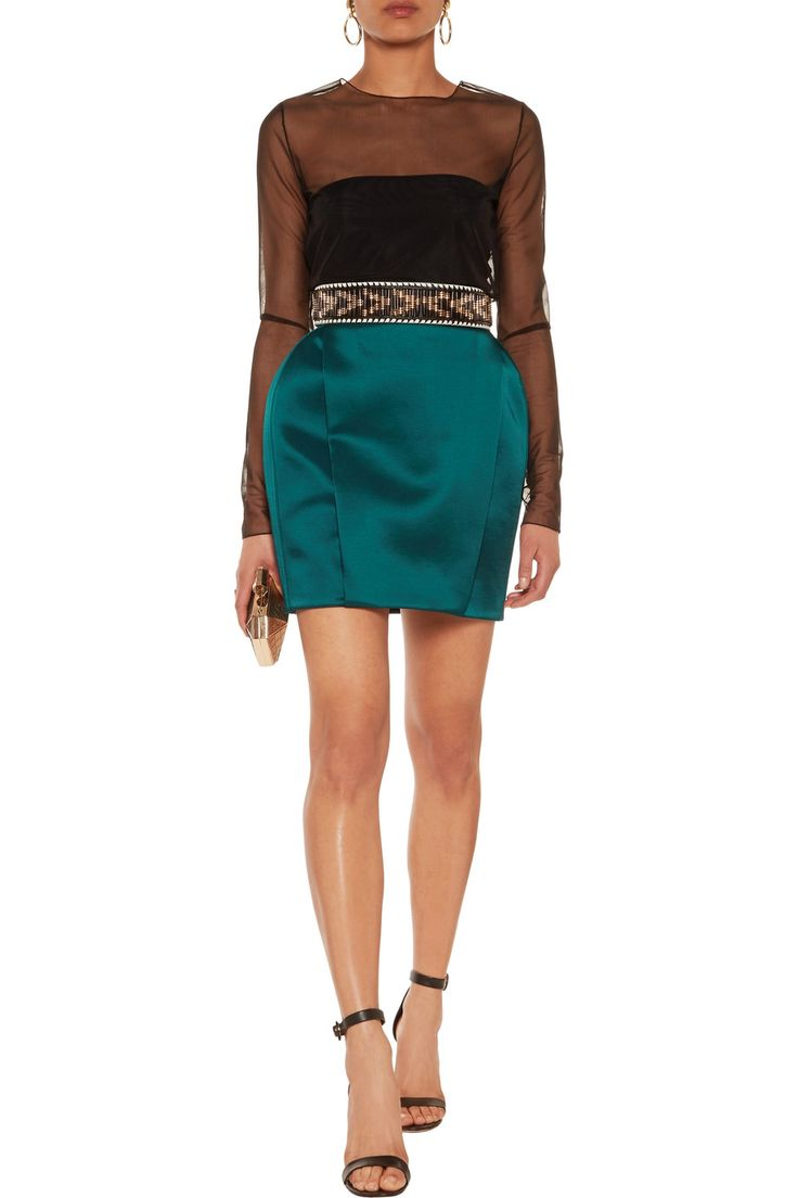 Shop on-sale Balmain Satin-faille mini skirt. Browse other discount designer Skirts & more on The Most Fashionable Fashion Outlet, THE OUTNET.COM