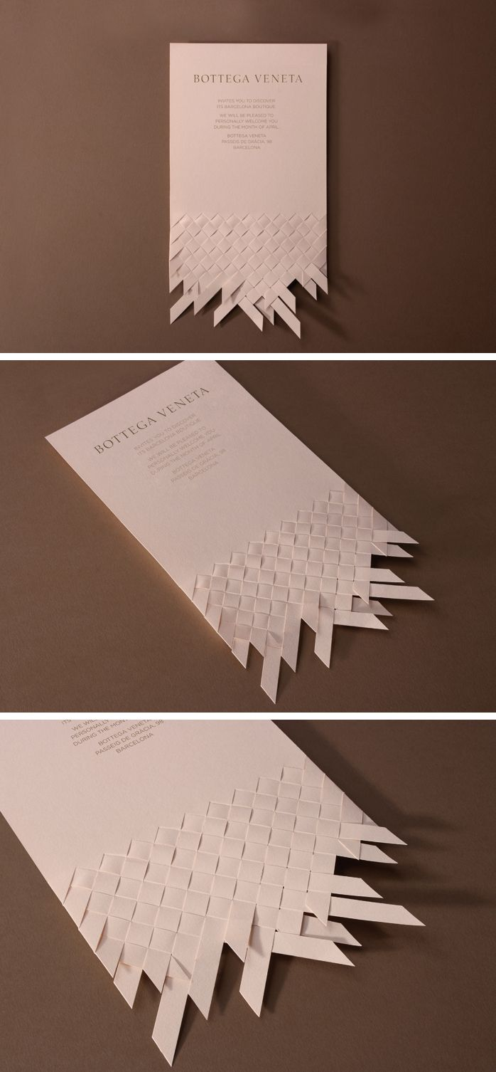 Invitation design proposal for the opening of Bottega Veneta's flagship store in Barcelona. 2012