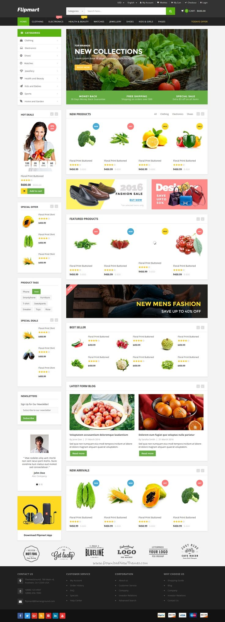 Flipmart is a clean and elegant design #Bootstrap template for #grocery #shop…