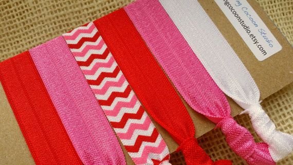 pink and red Chevron hair ties in a set of by BurstingCocoonStudio, $5.00