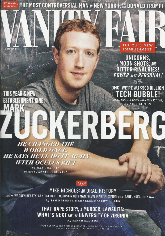 Vanity Fair magazine Mark Zuckerberg Tech bubble Mike Nichols Bill De Blasio