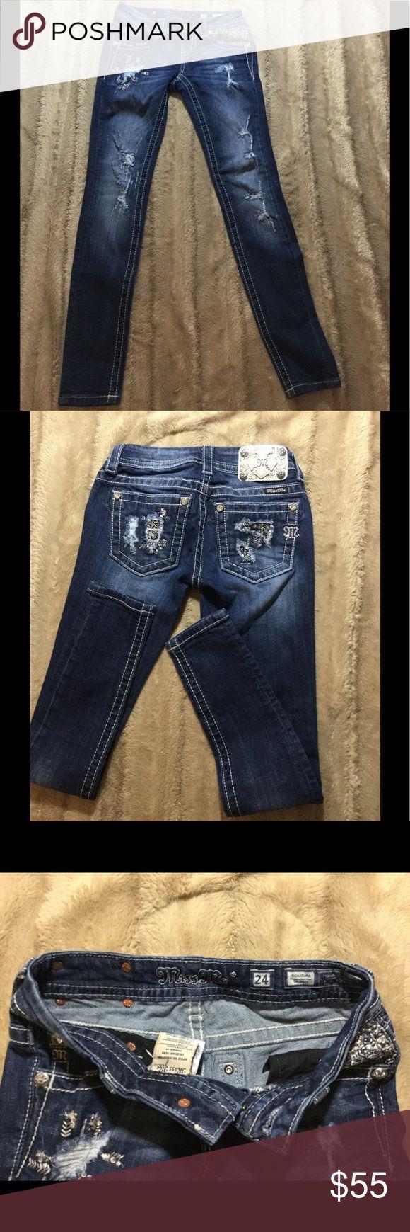 Selling this Miss Me. Rhinestone embellished distressed jean on Poshmark! My username is: tinybrowncow. #shopmycloset #poshmark #fashion #shopping #style #forsale #Miss Me #Denim