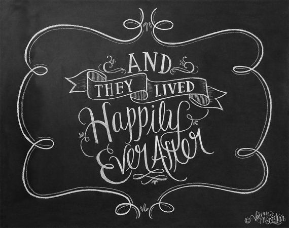 Wedding Art - And They Lived Happily Ever After - Paper Anniversary Gift - Wedding Photo Prop - Chalkboard Art  - Chalkboard Print on Etsy, $24.00