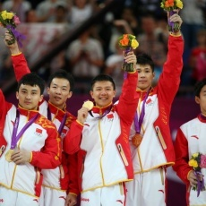 China won gold in the men's gymnastics team competition. Japan placed second and Britain took third, followed by Ukraine and the United States.