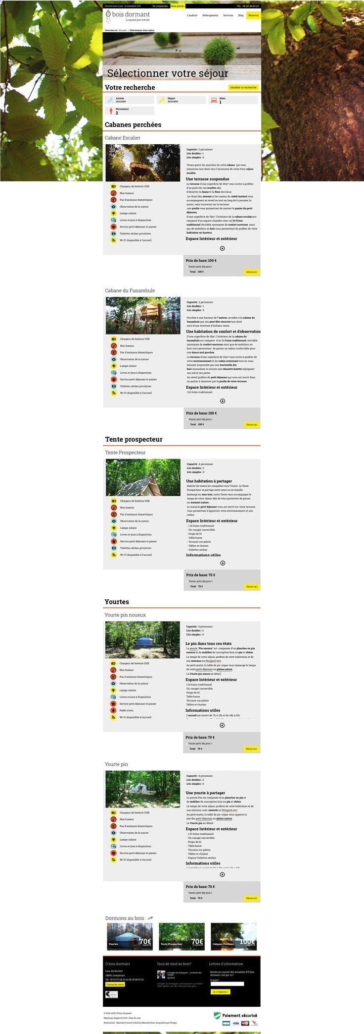 Intérieur du site www.o-bois-dormant.voyage - Site vitrine et de booking - #hébergement #insolite #site #web #booking #réservation #périgord