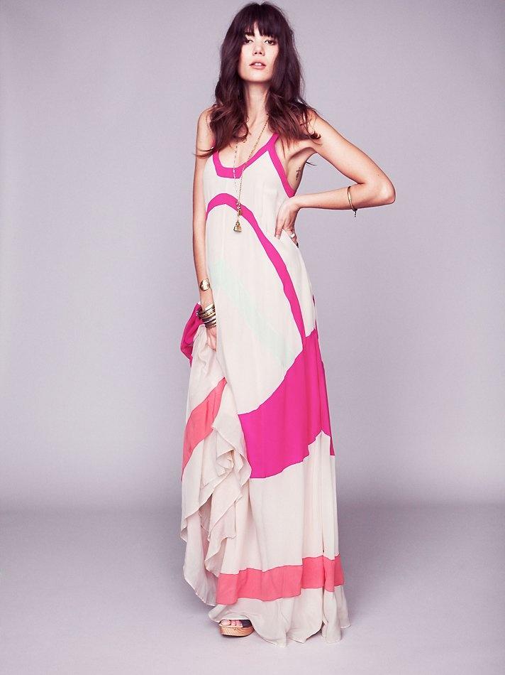 antik batik axel colorblock maxi dress.