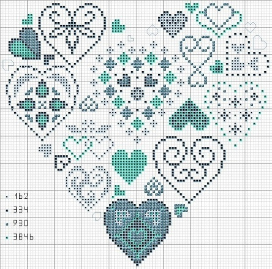 cuore con simboli; heart of hearts- includes DMC number colors..