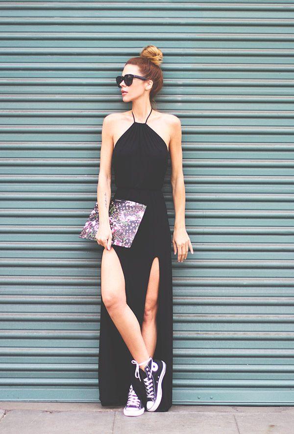 Street Style Vestido Preto Fenda