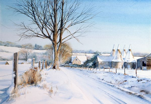 best 100 watercolor astists   ENGLISH SNOW, watercolor by Thomas A Needham