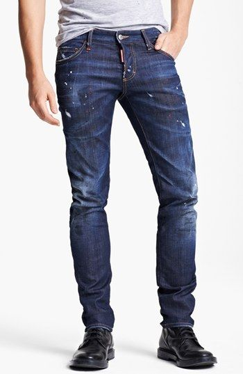 Dsquared Paint Splattered Slim Fit Jeans Blue On