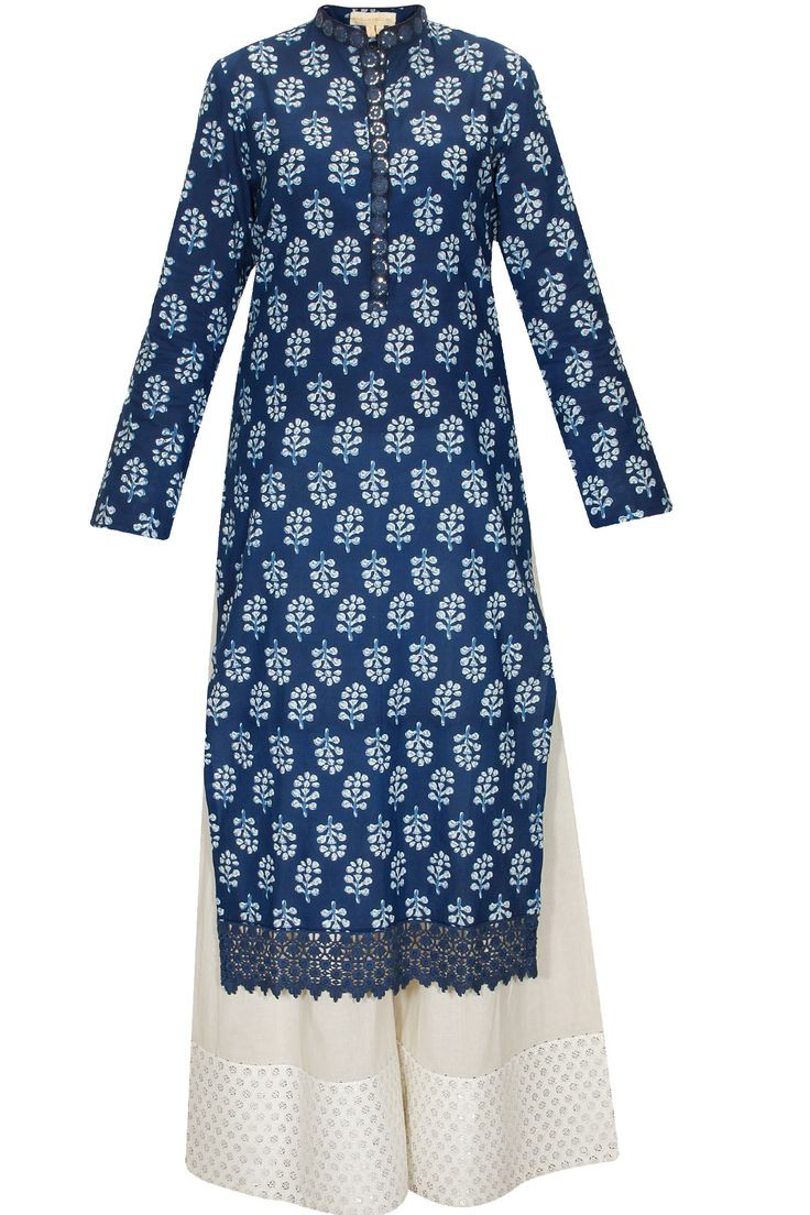 Navy blue floral printed kurta with cream cotton pants available only at Pernia's Pop-Up Shop.
