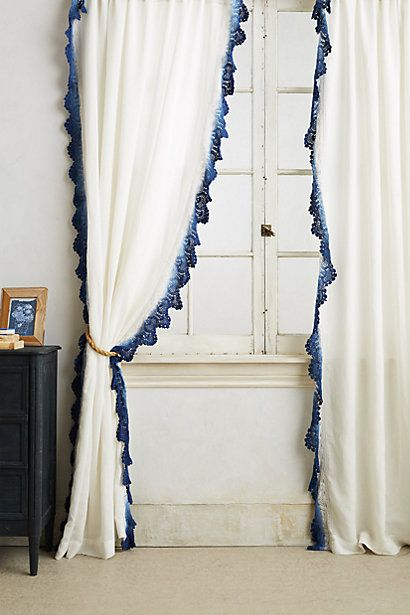 Ombre Lace Curtain #anthropologie ................. ALL KINDS OF INTERESTING, blue dip dyed crochet lace trim for curtains (they have them in bohemian orange, too)