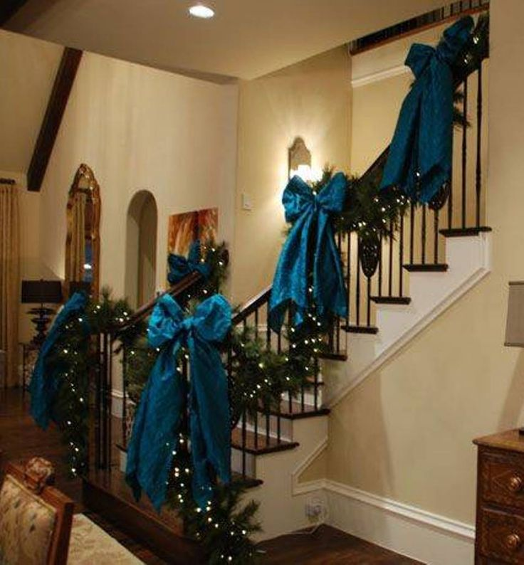 Staircase christmas decorations with blue bows festive for House decoration images