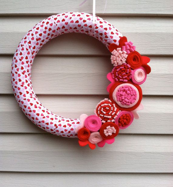 Valentine's Day Wreath  Heart Fabric Wreath by stringnthings, $42.00