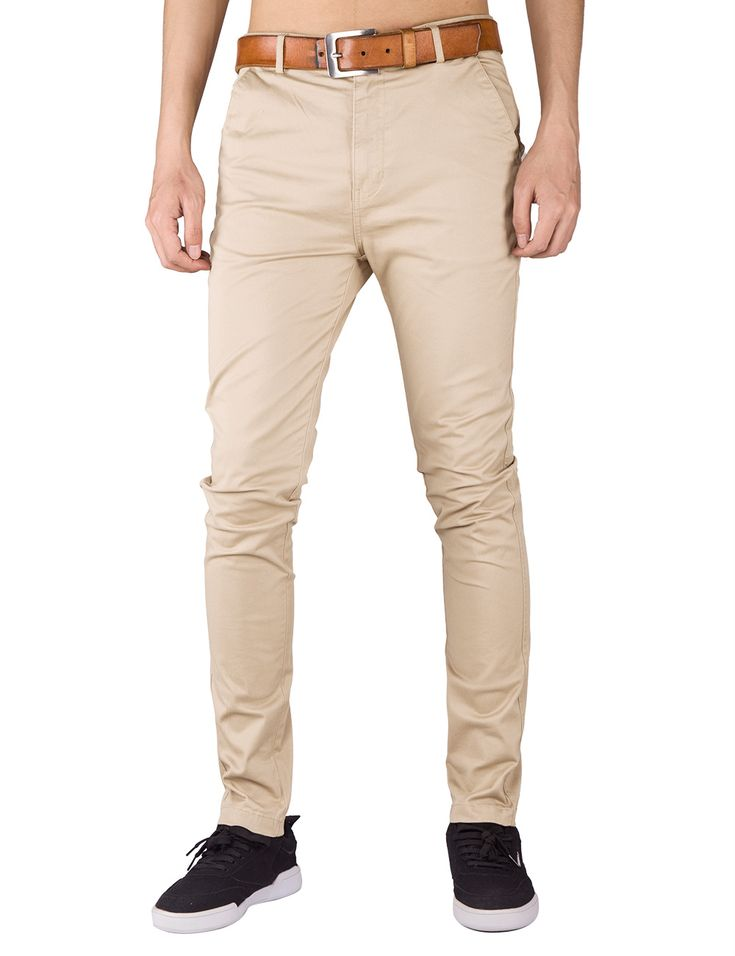 ITALY MORN Men Casual Style Cream Khaki Chino Pants