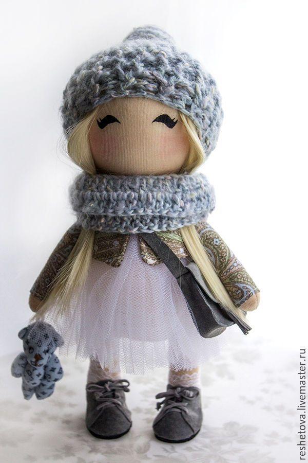 Купить Текстильная кукла, интерьерная кукла, интерьерная игрушка - серый, кукла ручной работы, кукла