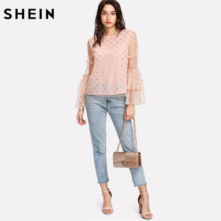 SHEIN Women Blouses Gold Star Mesh Overlay Ruffle Sleeve Top Pink Tiered Layer Butterfly Sleeve Party Wear Blouse