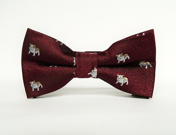 Burgundy Dog Patterned Bow Tie Pre Tied Wedding Burgundy Animal Print Dog Bow Tie Gift For Men Groomsmen Wedding Ties Tie Gifts Dog Bows