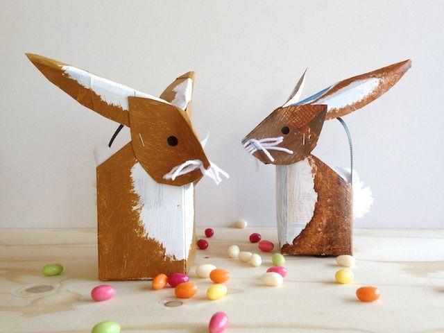 schaeresteipapier: milk carton Easter bunnies