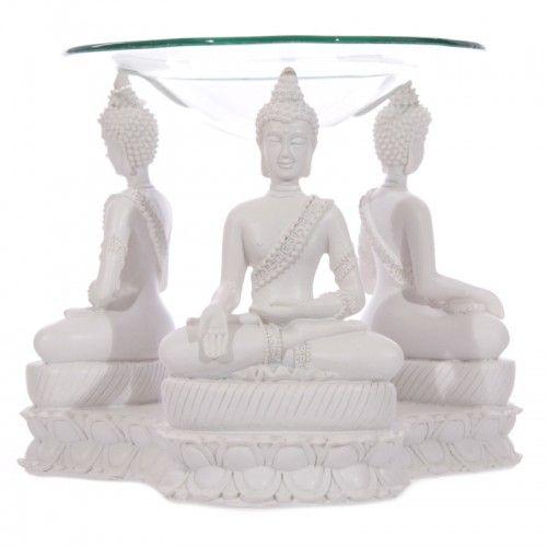 Boeddha Thais geurbrander wit  Mooie oliebrander met witte Thaise Boeddha's    Hoogte 11.5cm Diameter 15cm Schaal Diameter 12cm