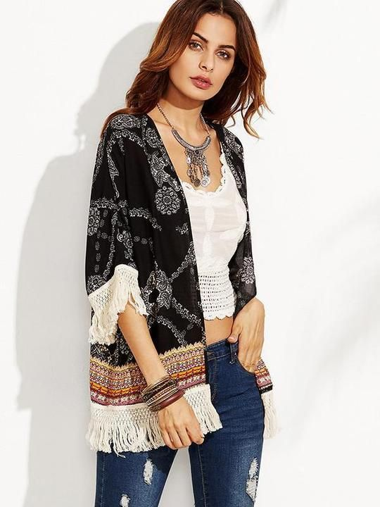 6b00083cbd918 Beautiful Floral-Print Tassel Half Sleeve Beach Cover-Ups – boholooks