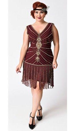 Unique Vintage Plus Size Deco Merlot Red & Gold Beaded Fringe Aelita Flapper Dress
