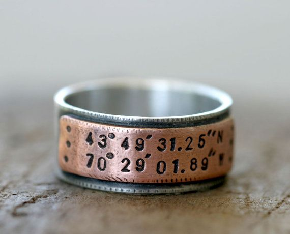 SO COOL!    Latitude Longitude Wedding Ring Mixed Metal by monkeysalwayslook, $92.00Anniversaries Gift, Sterling Silver, Wedding Band, Latitude Longitude, Rings Design, Wedding Locations, Wedding Rings, Men Rings, Mixed Metals