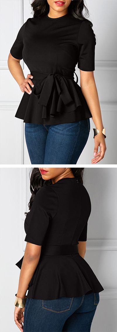 Belted Round Neck Black Short Sleeve Blouse.
