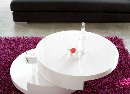 Mesa de centro moderna, lacado blanco y diseño original