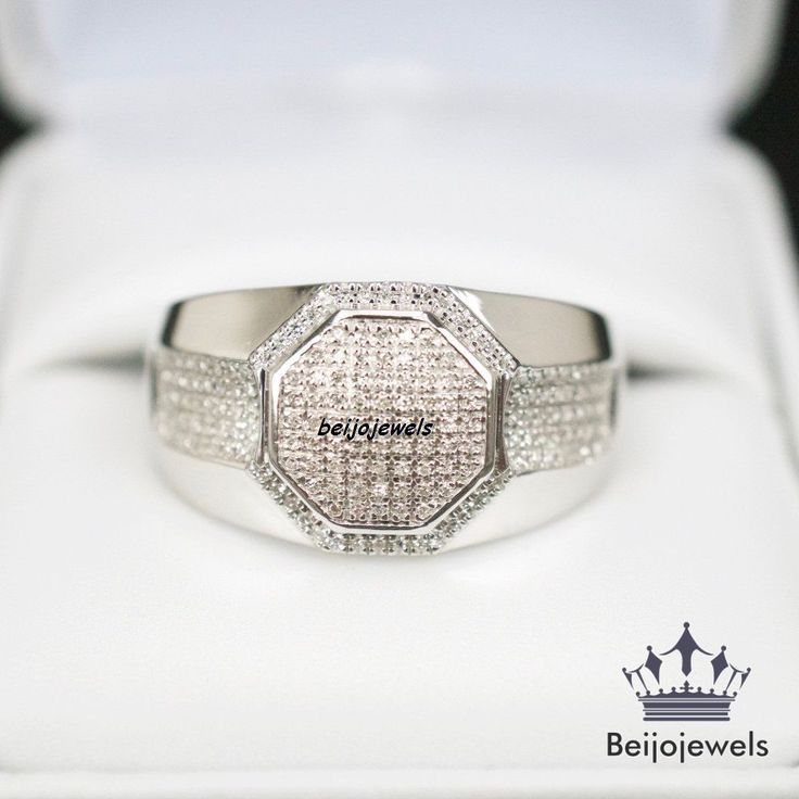 1.55 CARAT ROUND DIAMONDS MENS WHITE GOLD FINISH ENGAGEMENT PINKY RING BAND #beijojewels #WeddingBand