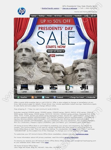 Company:     HP Shopping    Subject:    HP's Presidents' Day Sale STARTS NOW!             INBOXVISION is a global database and email gallery of 1.5 million B2C and B2B promotional emails and newsletter templates, providing email design ideas and email marketing intelligence.  http://www.inboxvision.com/blog  #EmailMarketing #DigitalMarketing #EmailDesign #EmailTemplate #InboxVision