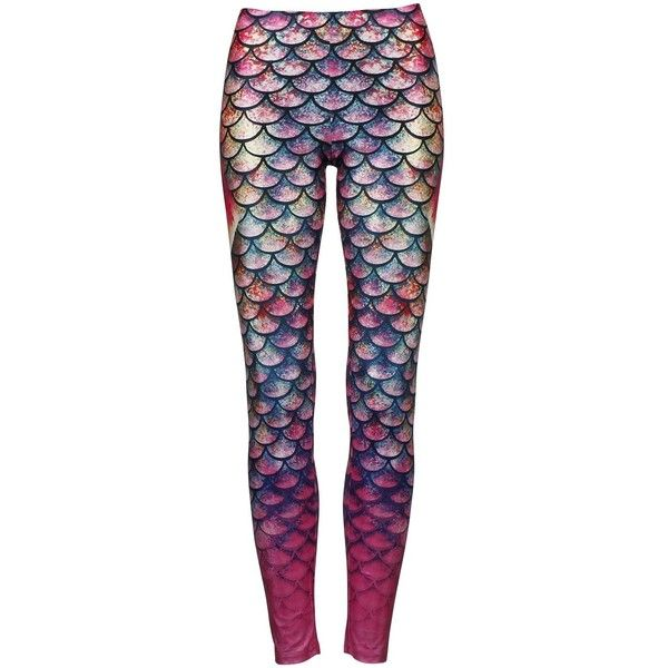 Alaroo Mermaid Leggings with Fish Scale Fin Printing ❤ liked on Polyvore featuring pants, leggings, fish leggings, fish pants and legging pants