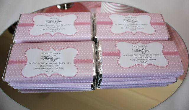 Personalised pink christening chocolate bars