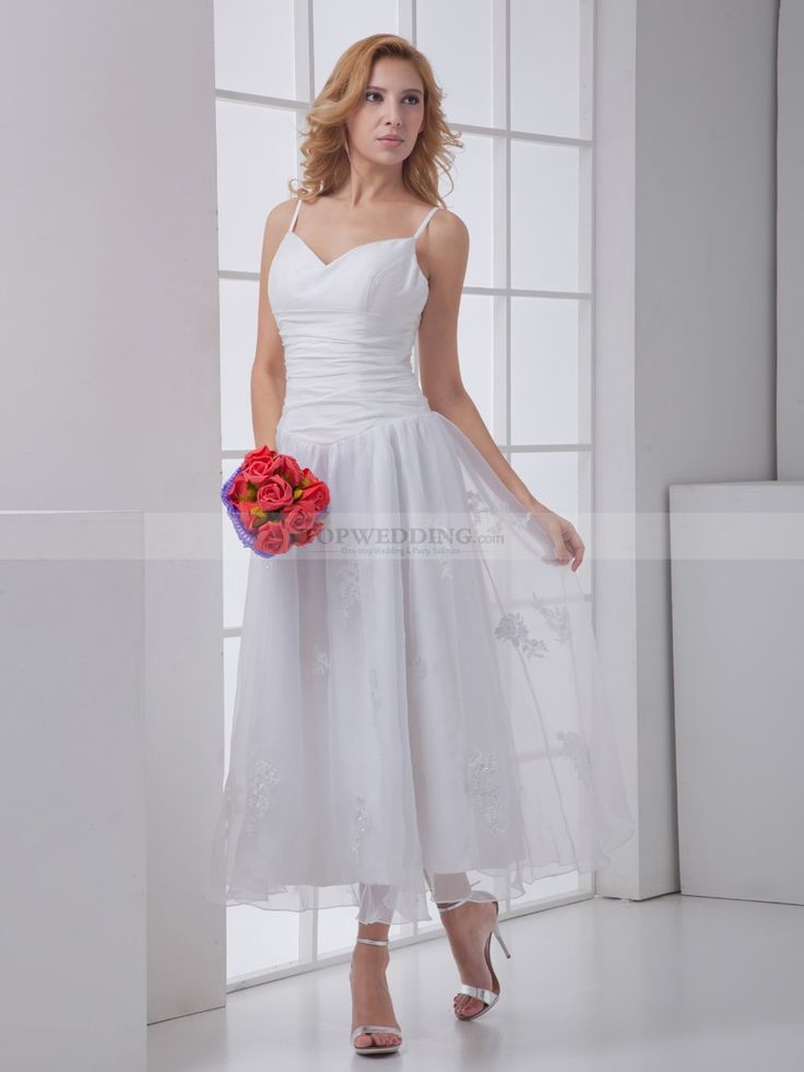 Spaghetti Straps Ankle Length Wedding Dress with Ruched Bodice