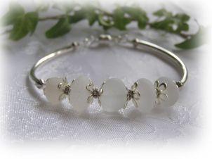 White Beach Glass Bangle Bracelet