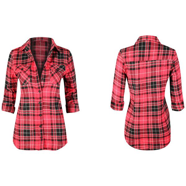 Women's 1510_Red Black Gray Plaid - Large ($25) ❤ liked on Polyvore featuring tops, red, tops & tees, plaid shirts, plaid top, red shirt, grey plaid shirt and red flannel shirt