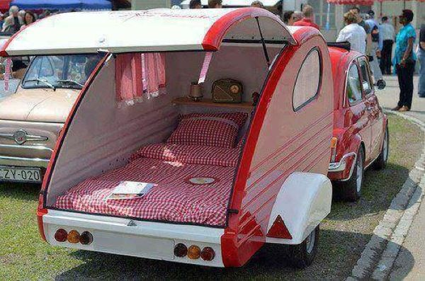 tear trop trailer   Tiny Vintage Cars Towing a Matching Teardrop Trailers