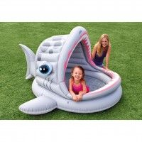 """Intex Roarin Shark Shade Pool This baby pool is designed for maximum comfort, with an inflatable floor and a built-in partial sunshade Approximate inflated dimensions: 79"""" x 78"""" x 43""""; Approximate water capacity: 32 gallons (6"""" of wall height) Includes: Built-in partial sunshade; Soft inflatable floor for extra comfort; Repair patch. Age 2+ www.kidswoodentoyshop.co.uk"""