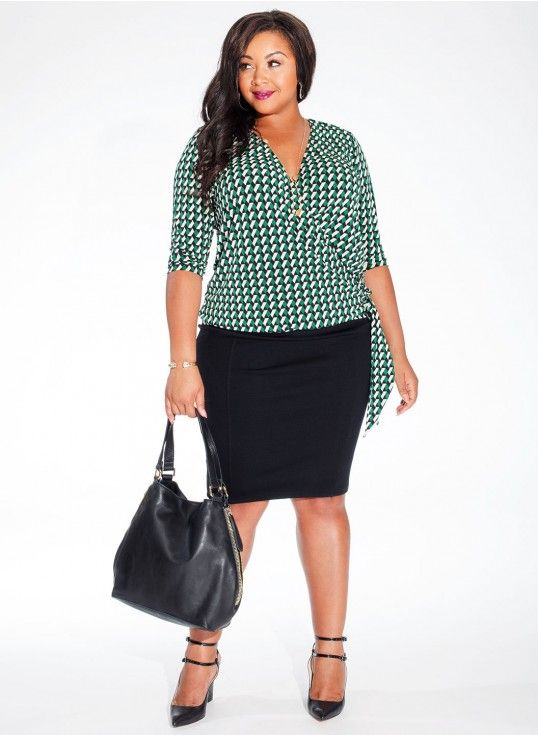 Lark Wrap Top in Emerald Escape