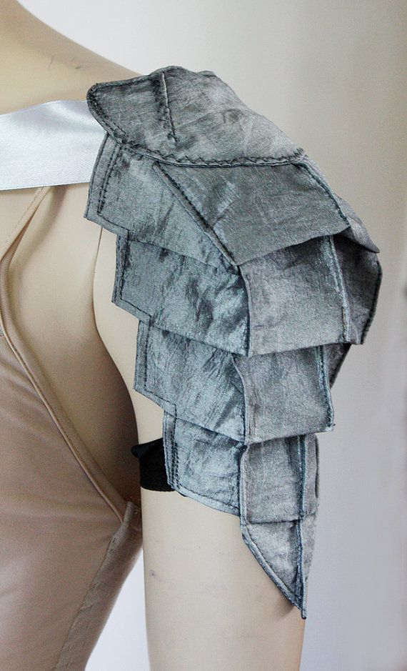 Silver metallic armor styled blue shoulder for costumes or cosplay