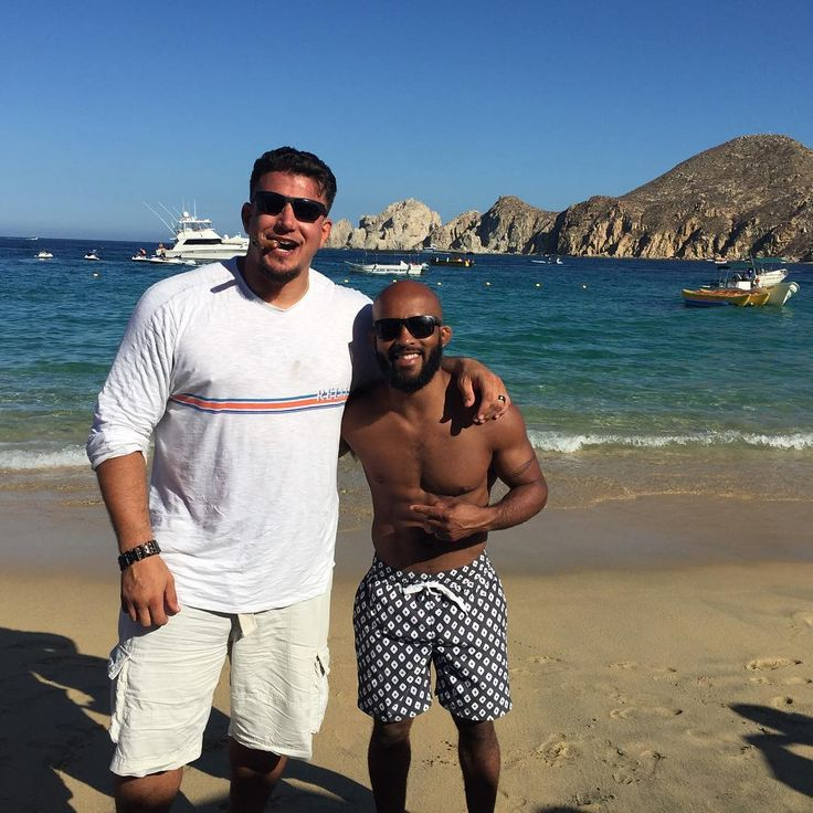 Mighty mouse runs into frank mir on a beach in cabo with