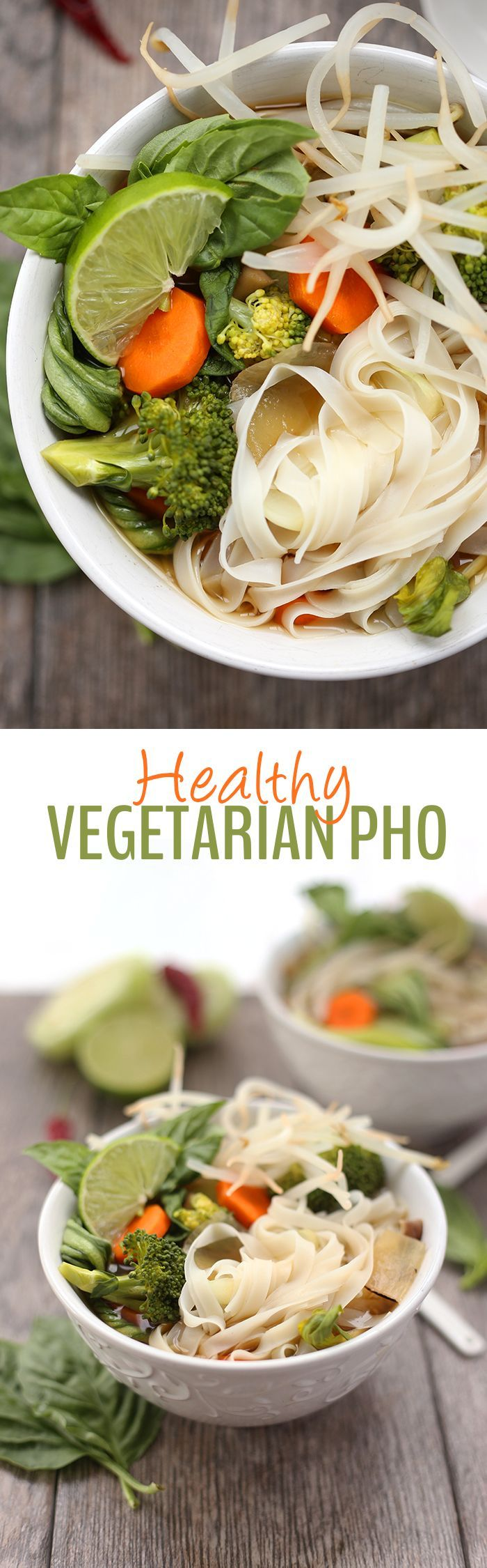 A Healthy Vegetarian Pho recipe with a flavorful and nutritious mushroom broth. This veggie-packed meal will make you ditch the takeout and whip up this Vietnamese classic at home.