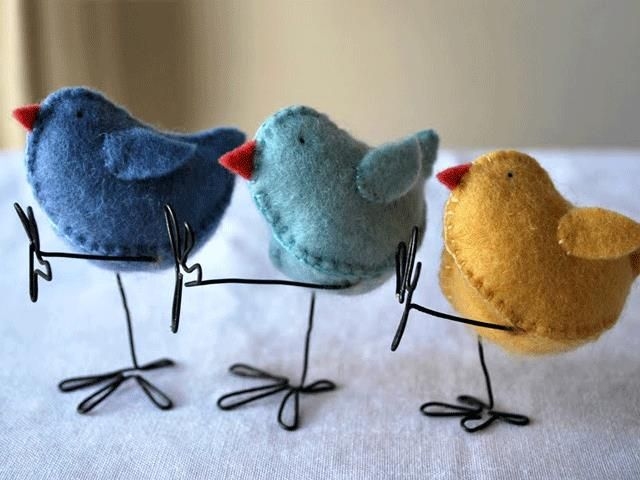 These adorable felt Easter chicks can be molded into any position you like (these ones are dancing!). For a more kid-friendly crafting version, you can omit the wire legs. Get the tutorial at Myrtle and Eunice.   - CountryLiving.com