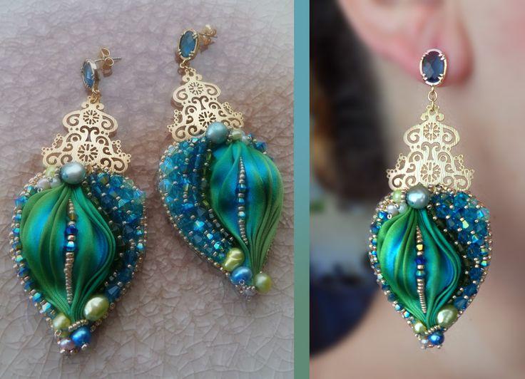 Earrings by Serena Di Mercione --- bead embroidery, shibori silk, Swarovski, and brass filigree topper