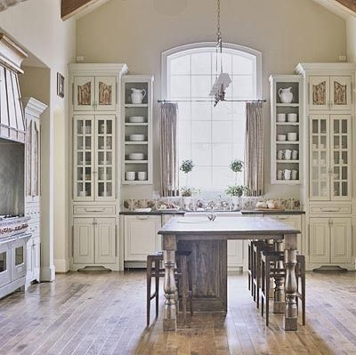 Elegant ~I Might Be In LoVe~ French Country   Light Kitchen. Elegant But Simple French  Country Kitchen In White With Glass Front Cabinets And Rustic Wood Island