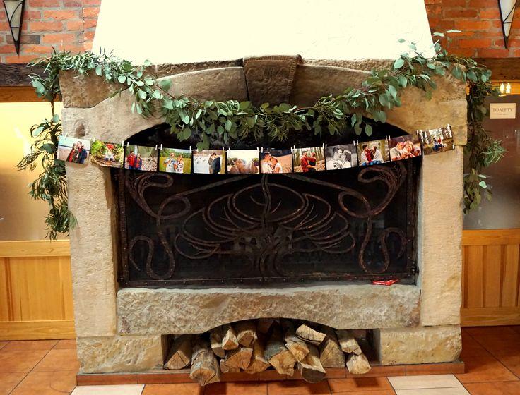#decoration #wedding #rustic #photo #green #fireplace